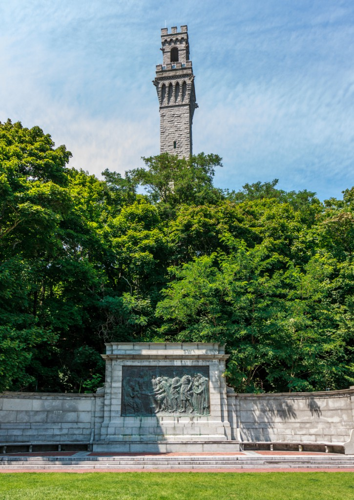 The Pilgrim Monument and bas relief commemorating the Mayflower Compact