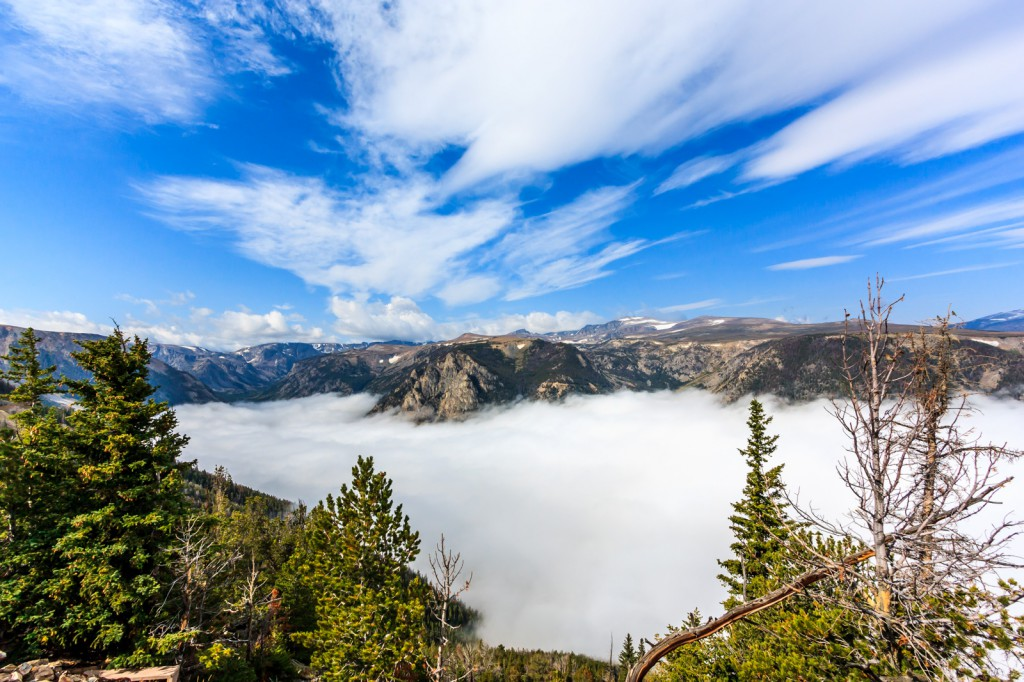 A fog filled valley from the Beartooth Highway