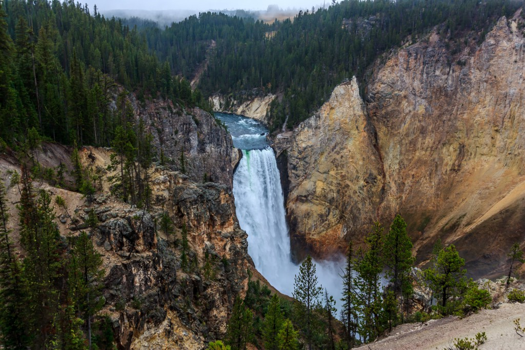 The mighty Yellowstone River has two waterfalls in the canyon