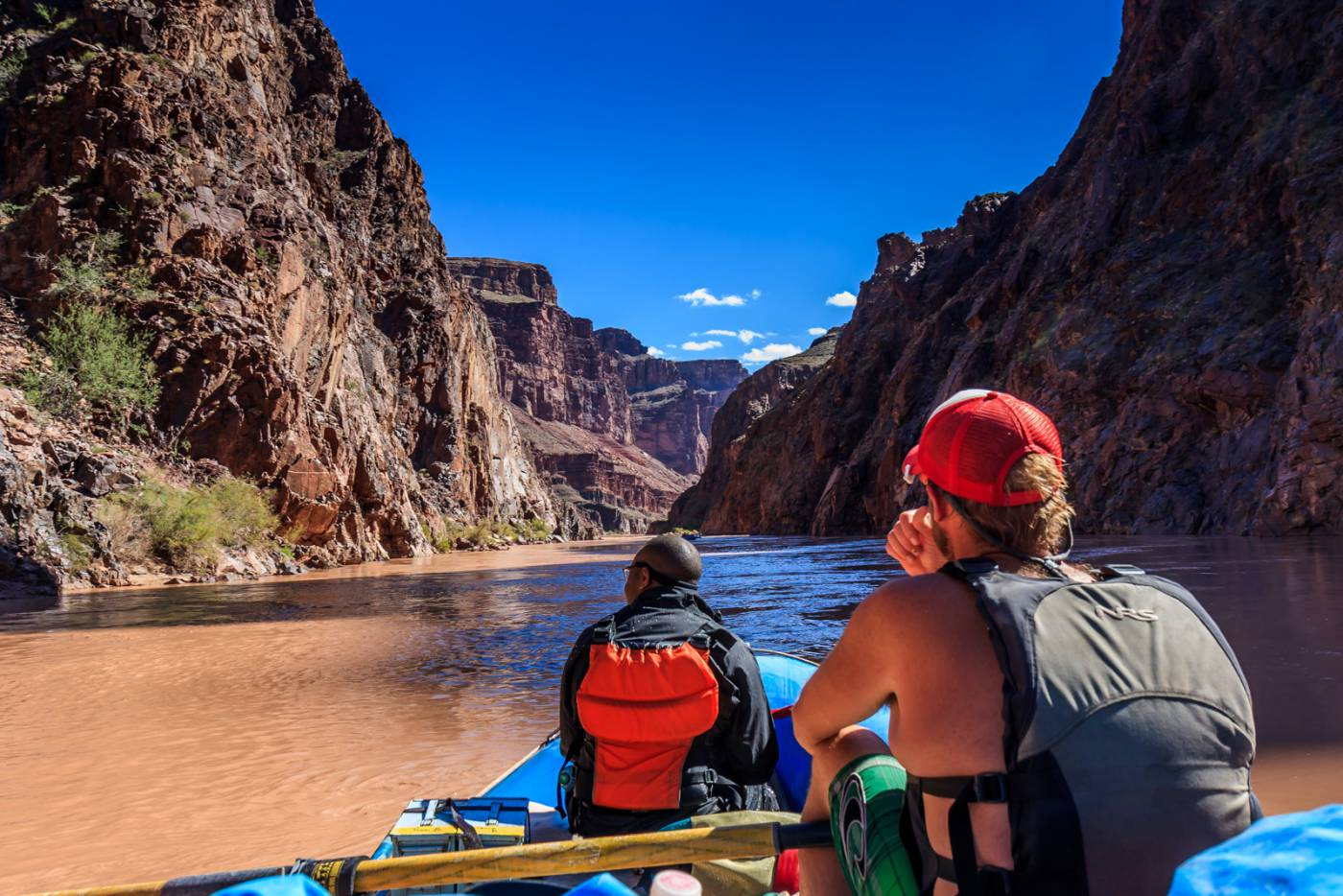 Our guide takes a break as we float through the Colorado River gorge.