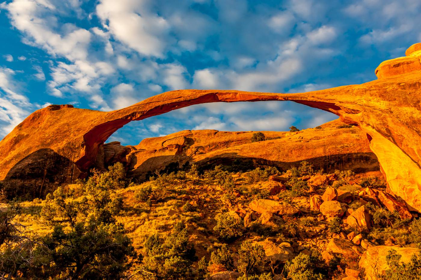 Landscape Arch glows in the morning.