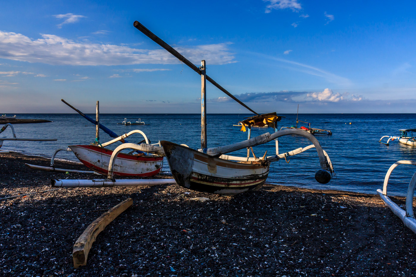 A boat on Amed's beach.