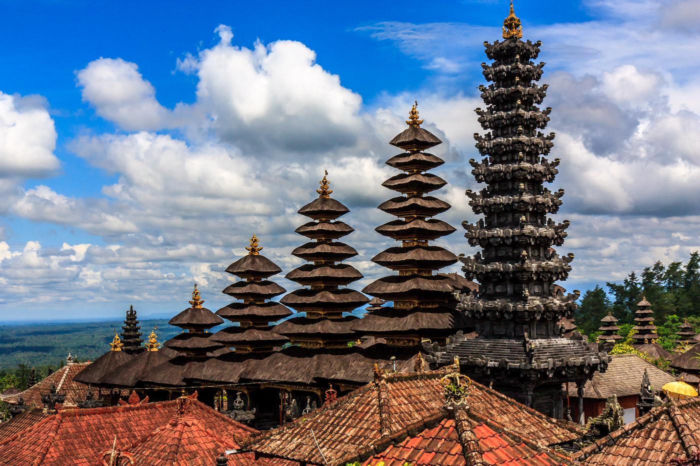 Sloping pagodas.