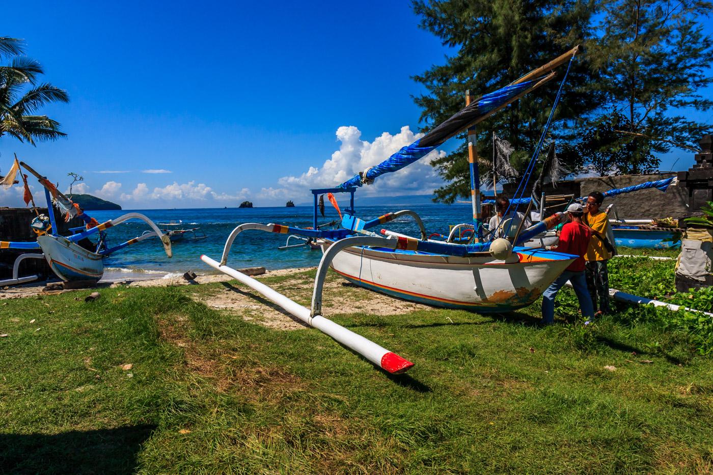 Locals repairing a boat.