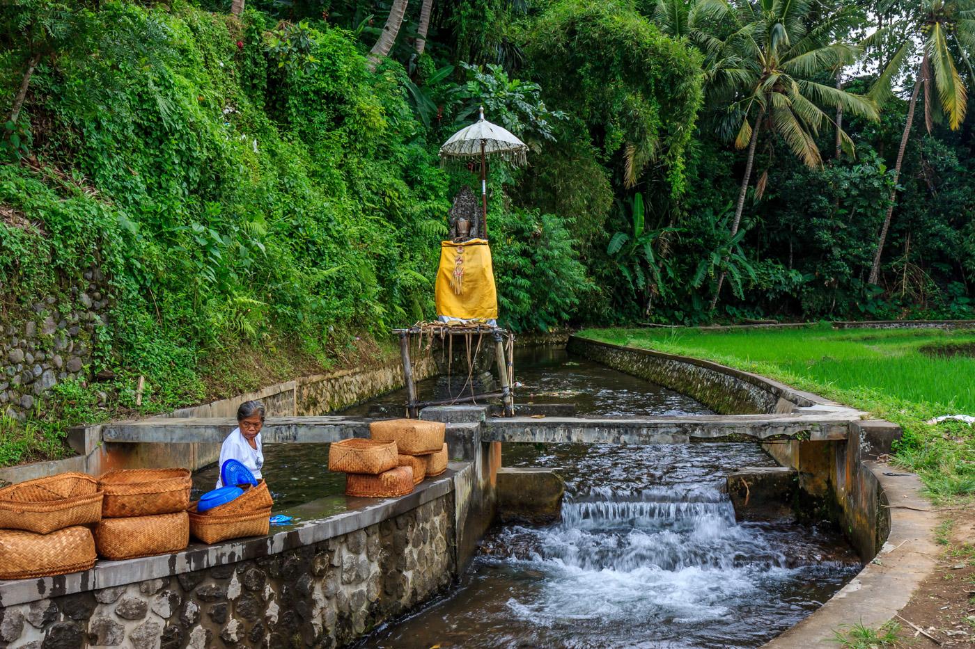 The walk to Gunung Kawi goes past rivers.