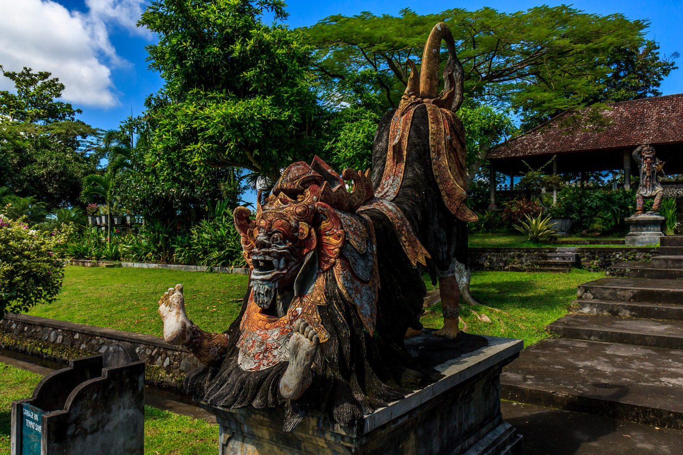 A sculpture of a barong, seen in Balinese dance.