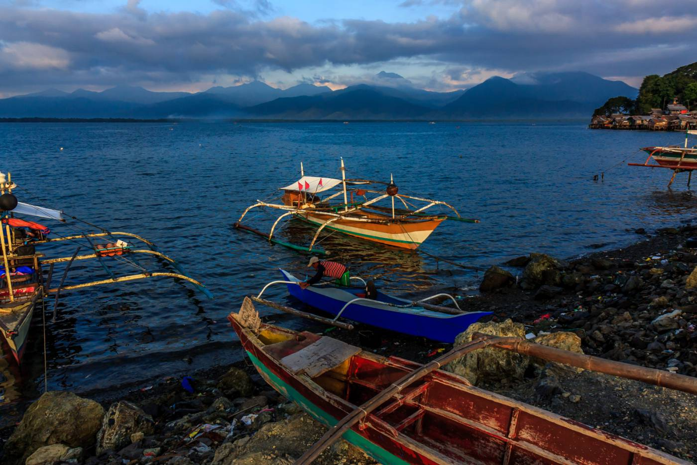 Fishing boats in the bay.