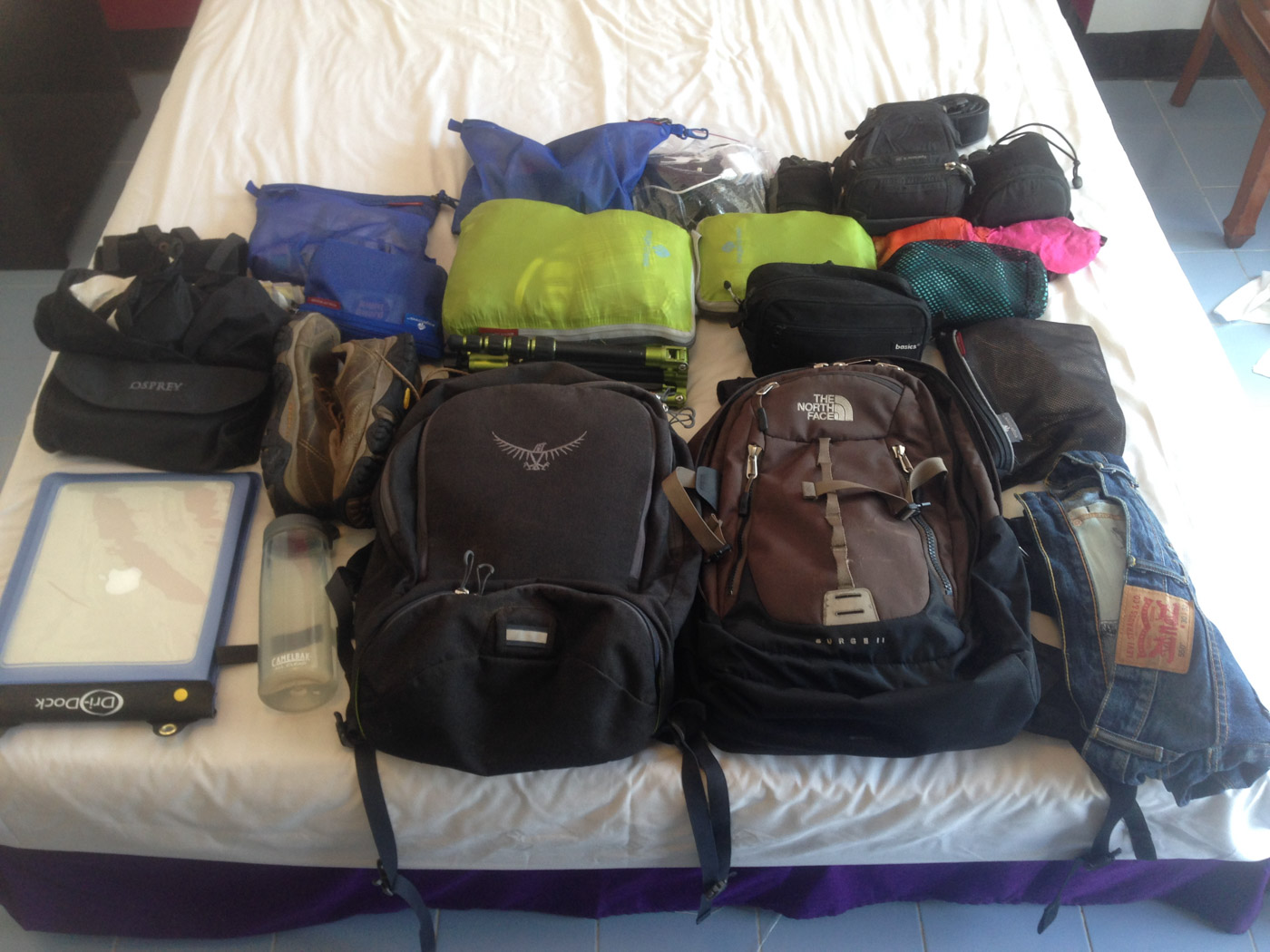 All my stuff, packed into little bags.