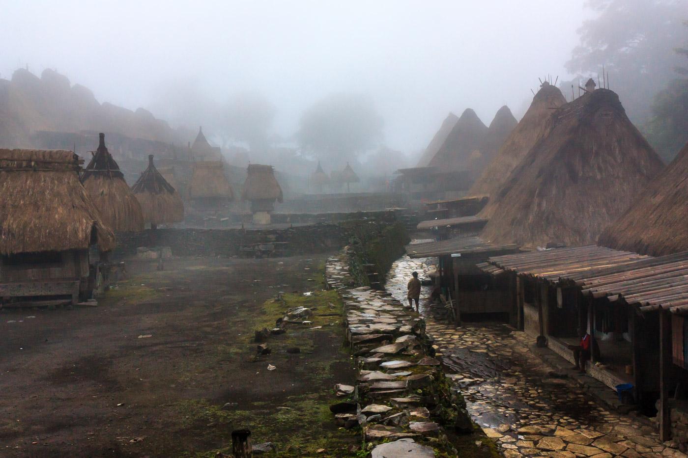 Bena village in the fog.