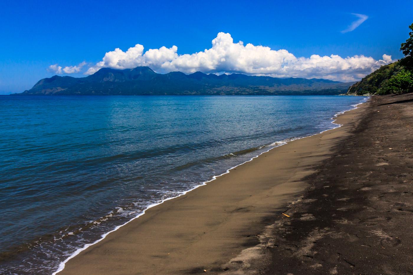 Deserted black sand beach.