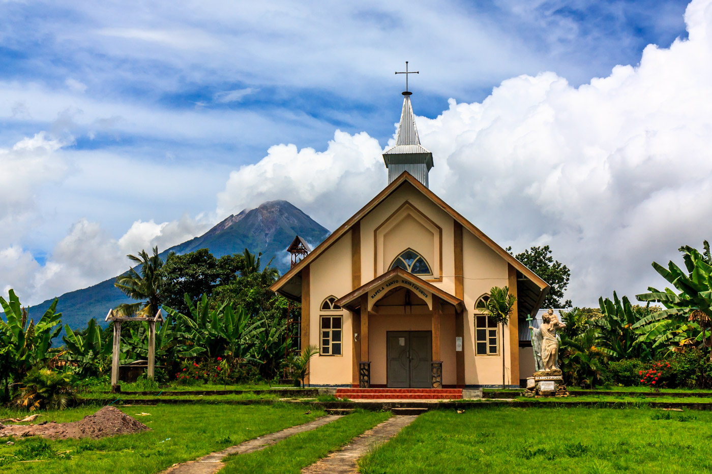 Volcano and church.