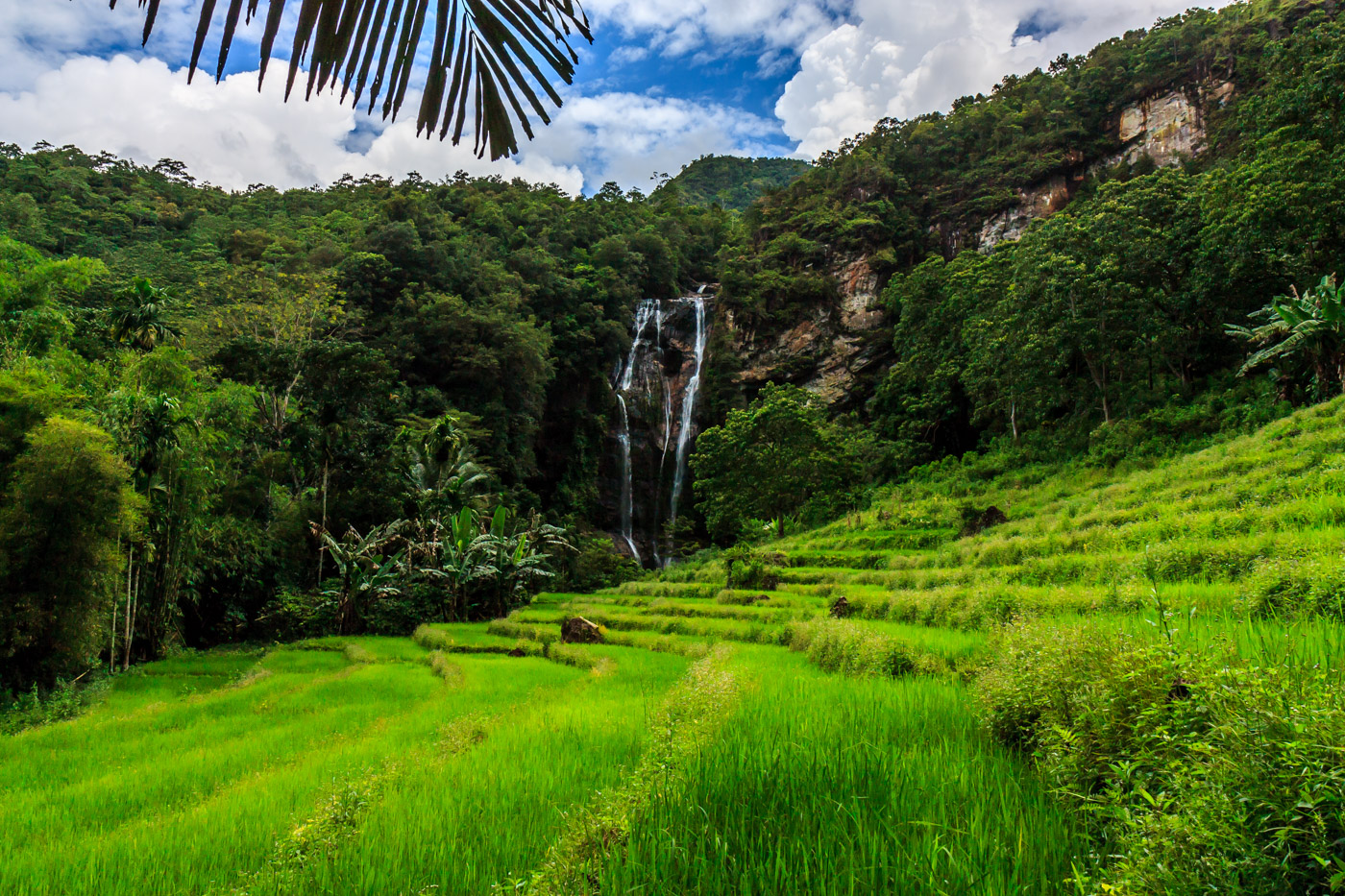 The waterfall was impressively located over rice terraces.