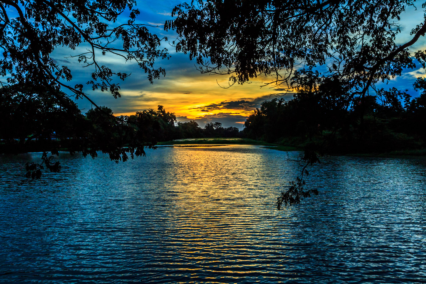 Sunset on the moat.