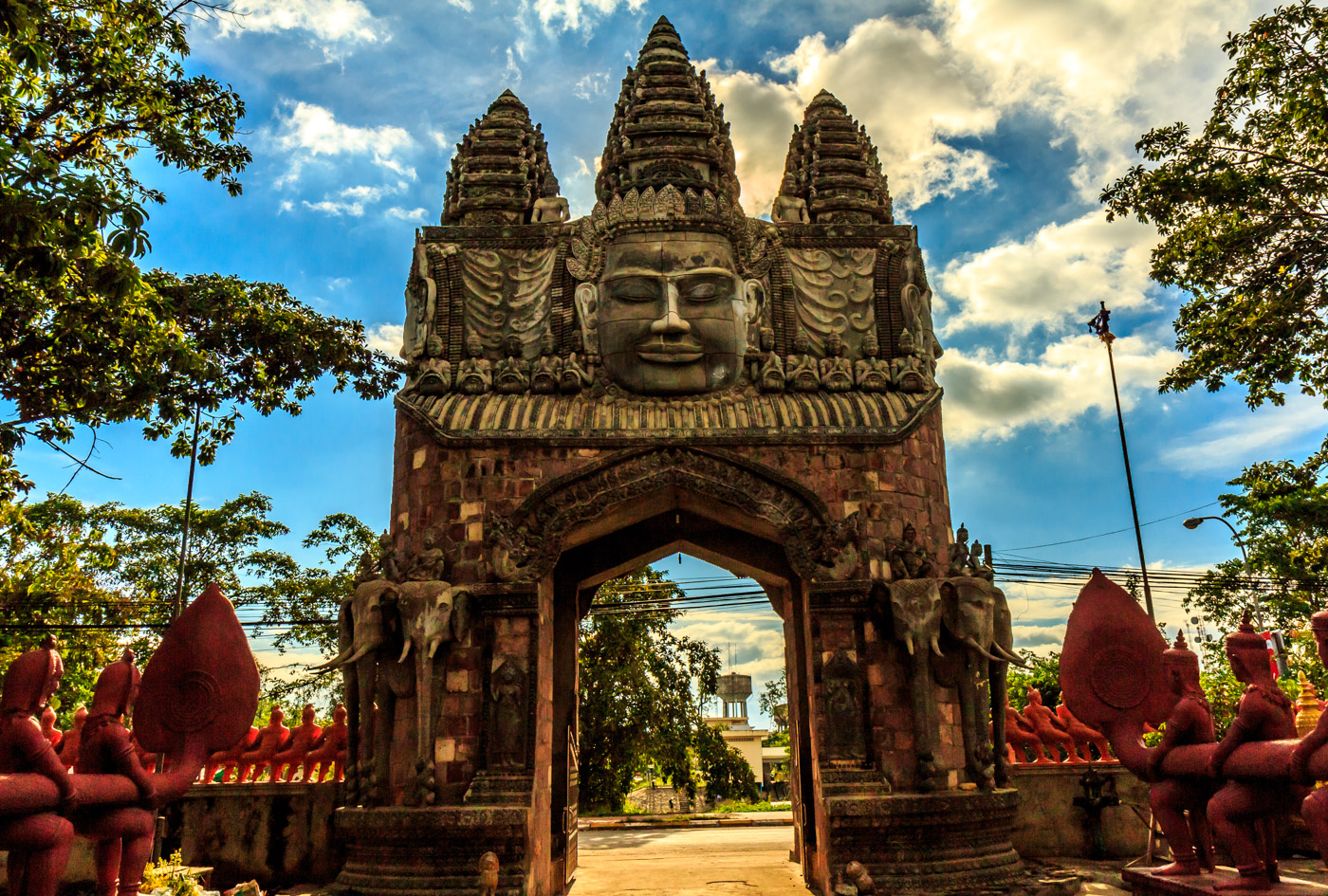 A modern Angkor-style gateway.