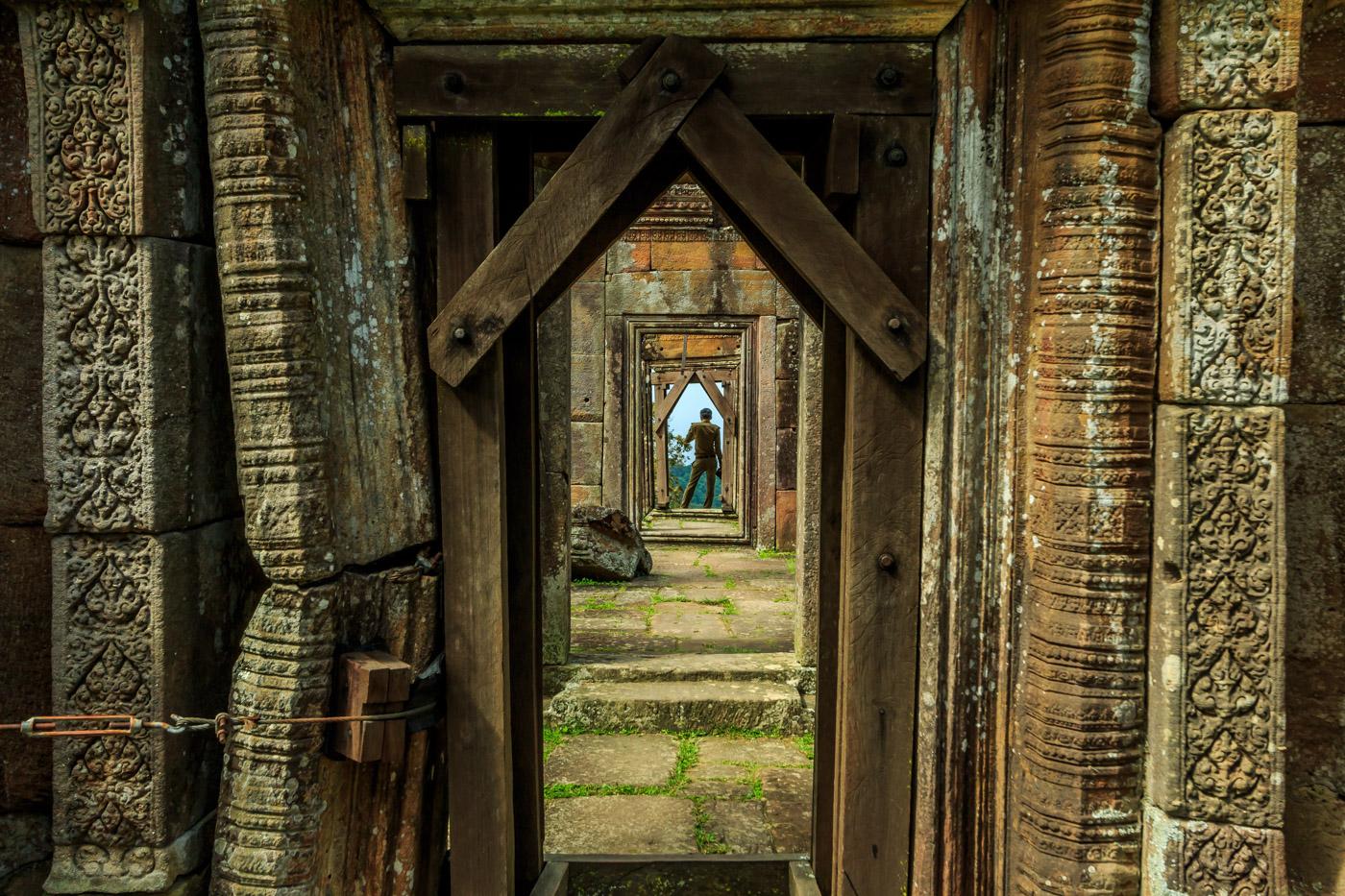 A soldier in the doorway.
