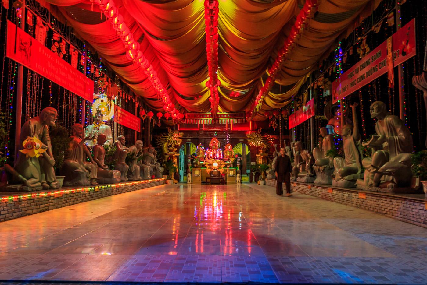 Inside one of Dương Đông's new neon temples.