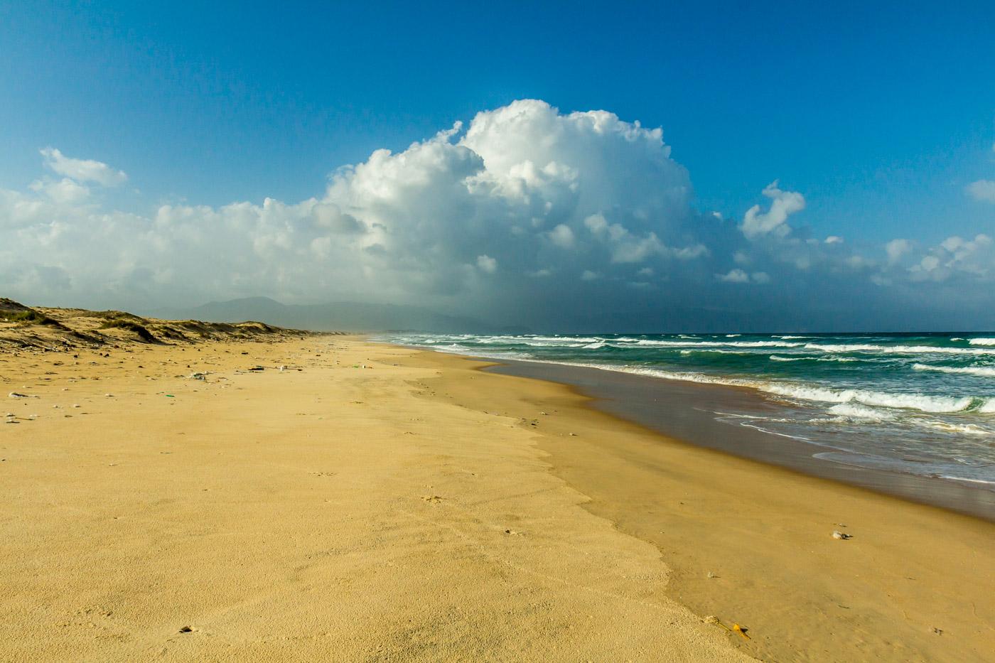 On the deserted beach.