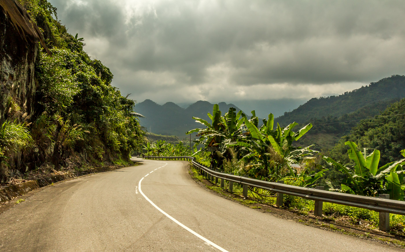 The road twisted and turned through the mountains.