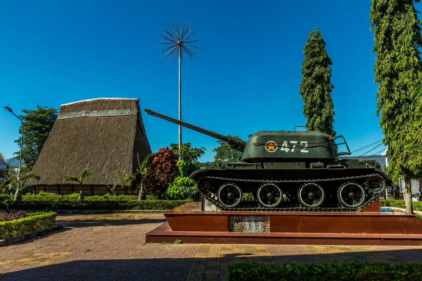 Russian tank and traditional house.