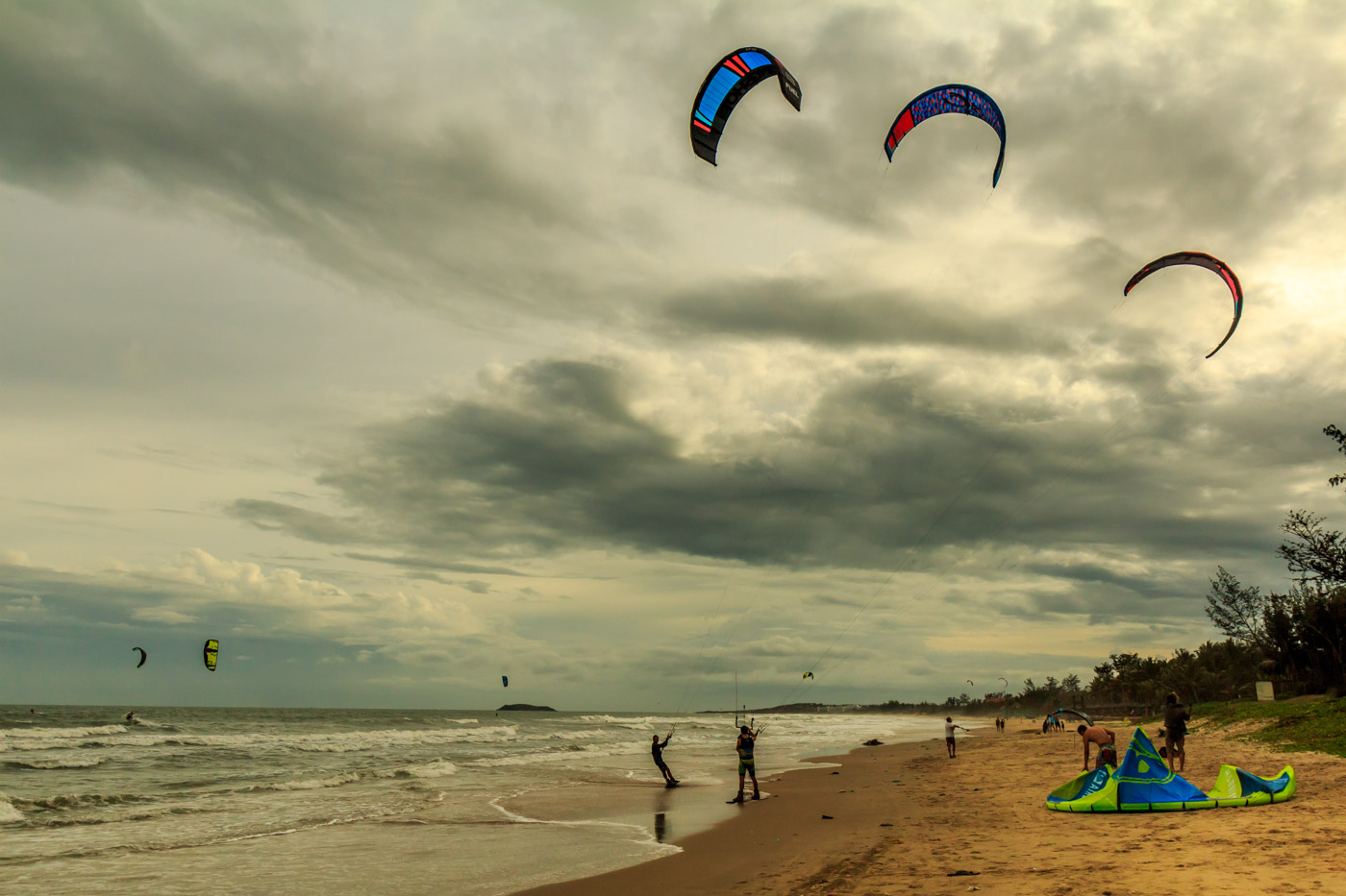 Kite surfers doing their thing.