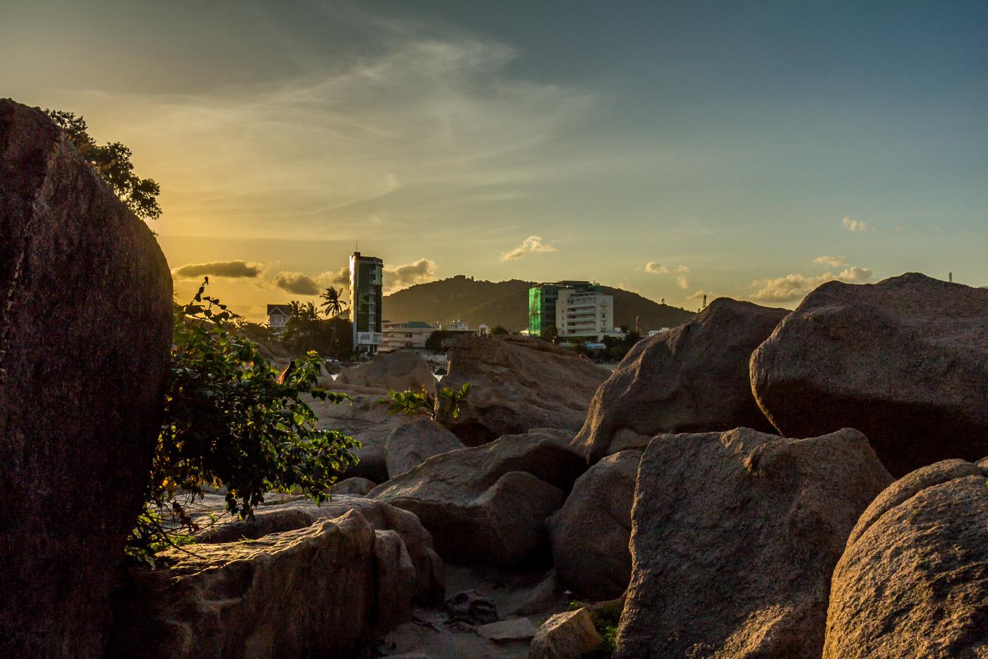 Nha Trang through the rocks.