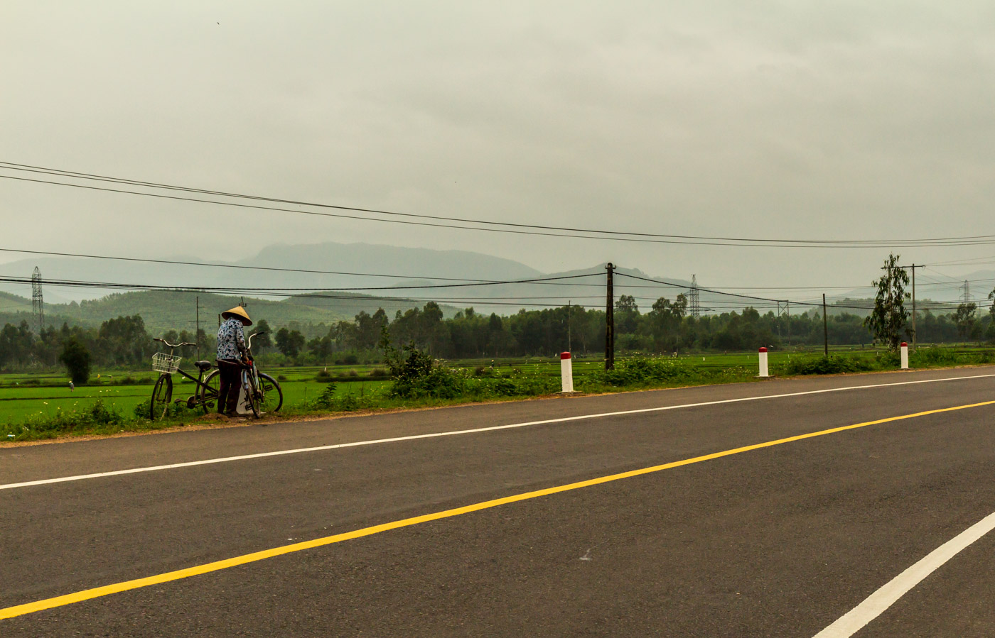 The busy highway passed through rural landscape.