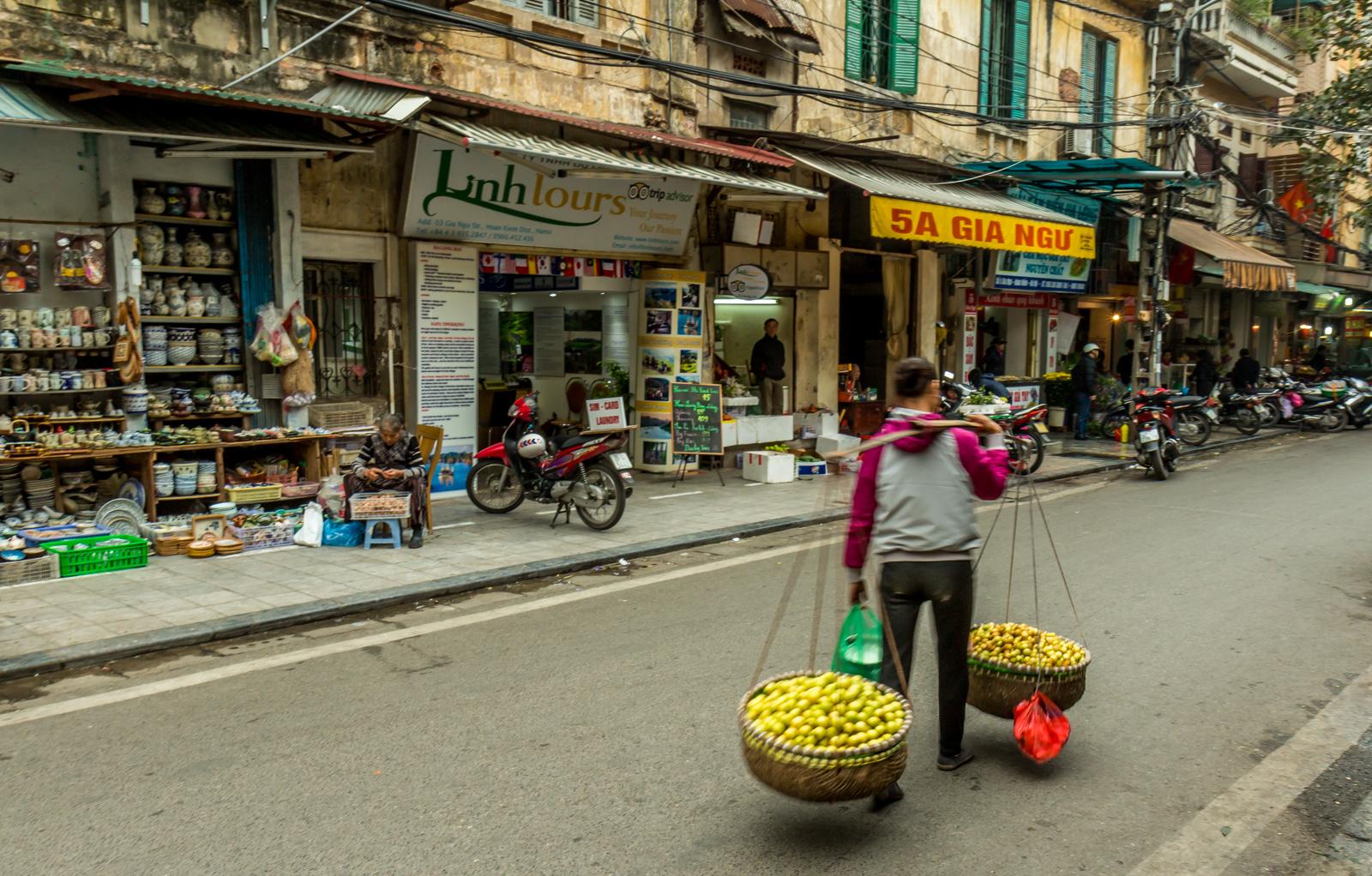 A fruit vendor in the Old Quarter.