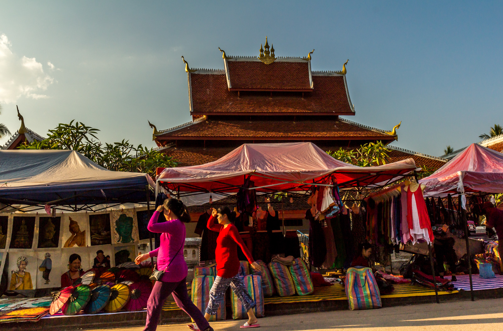 Strolling past the night market.