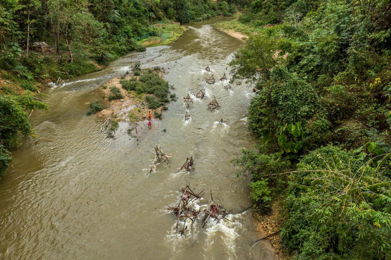 Villagers had makeshift turbines set up in the river.