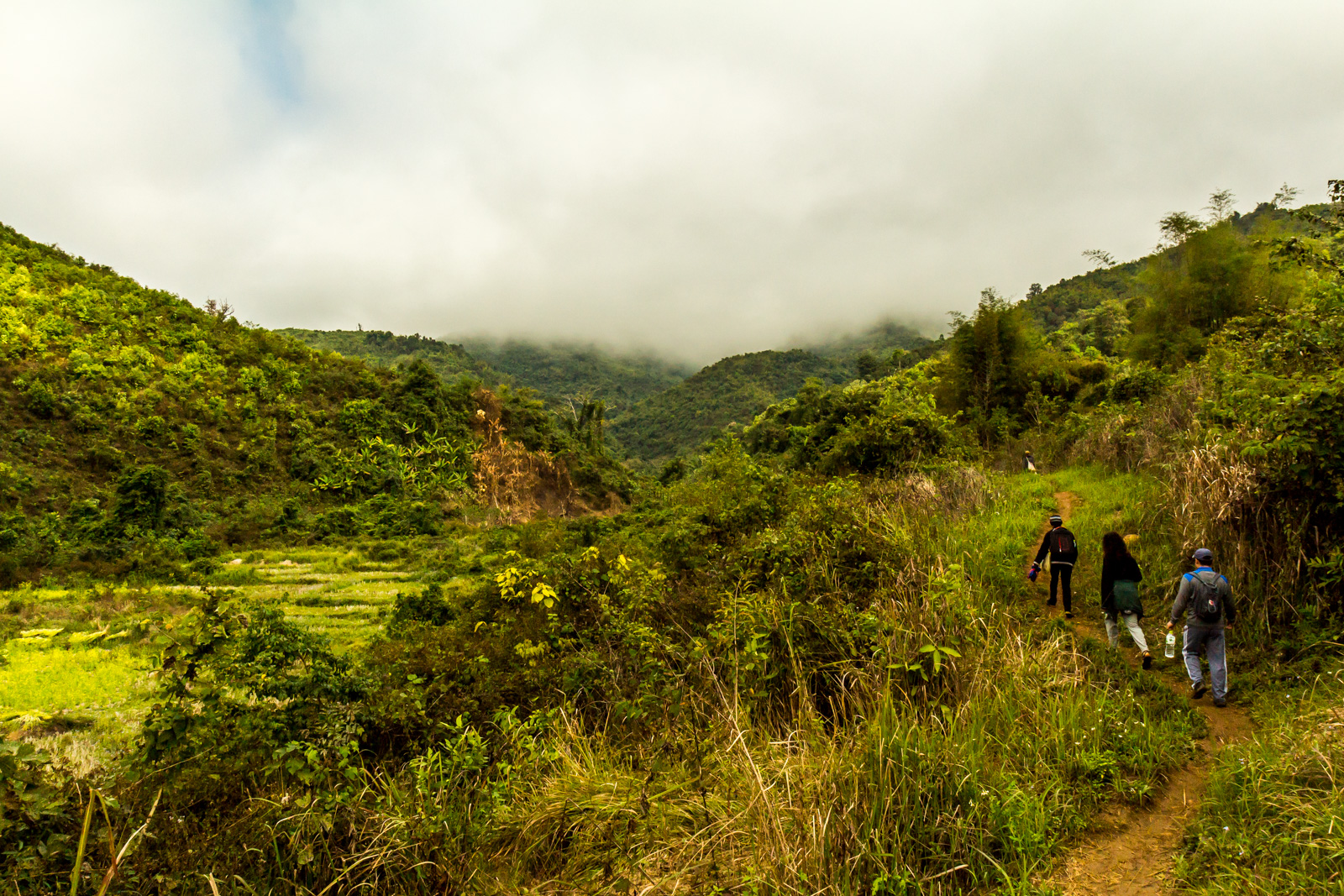 We walked through a peaceful valley.