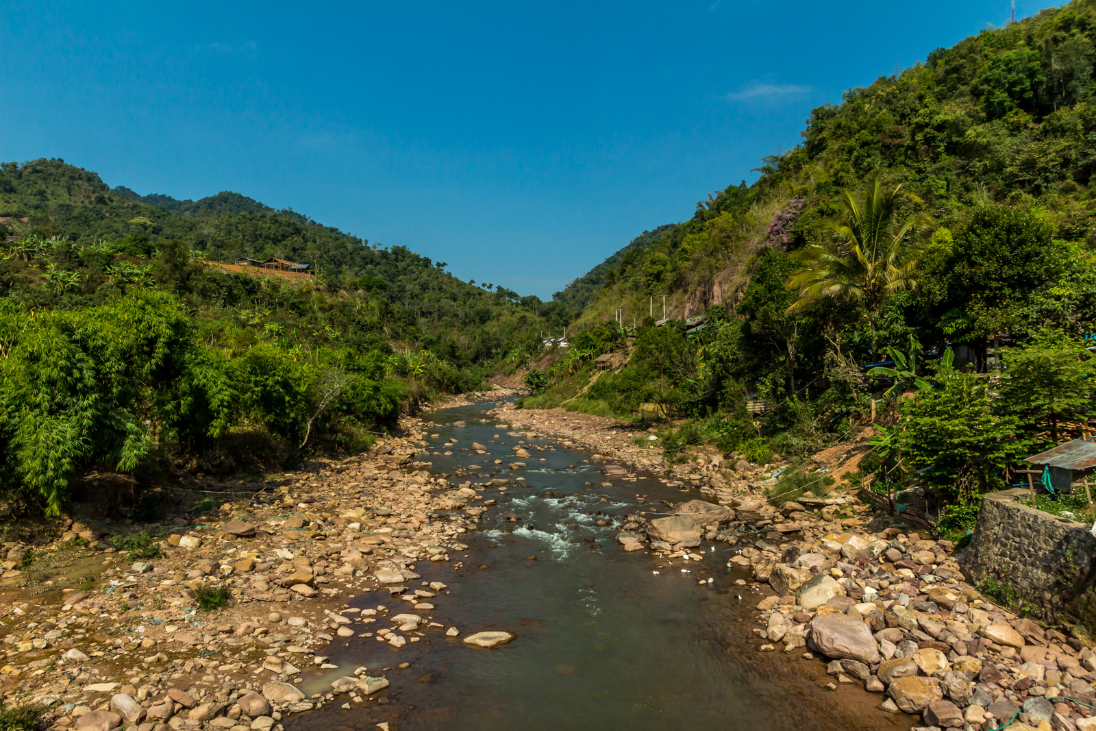 The rivers are rocky because Laos has built so many dams.