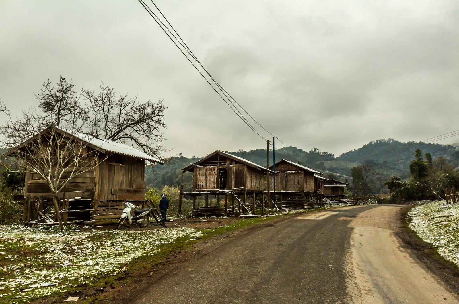 Snowy village.