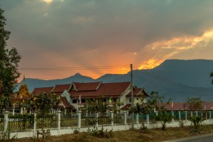 Like in Vietnam, tiny villages often have huge government buildings.