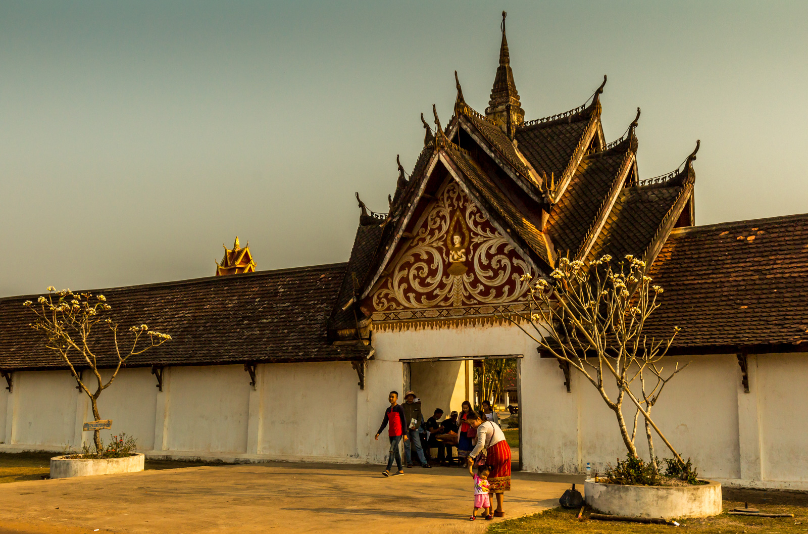 Lao people were lined up to visit the temple near Savannakhet.